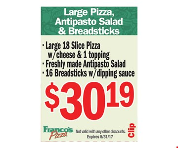 Large pizza, antipasto salad and breadsticks $30.19