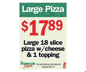 Large pizza $17.89