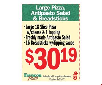 Large Pizza, Antipasto salad & Breadsticks -$30.19