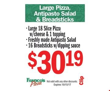 Large Pizza, Antipasto Salad & Breadsticks $30.19