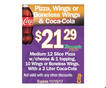 Pizza, Wings or Boneless Wings & Coca-Cola $21.29
