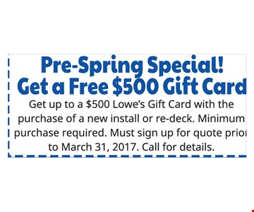 pre spring special free $500 gift card