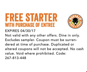Free Starter with purchase of entree
