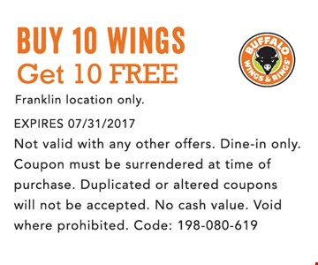 Buy 10 wings and get 10 free