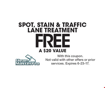Spot, Stain & Traffic Lane Treatment FREE. A $20 value.