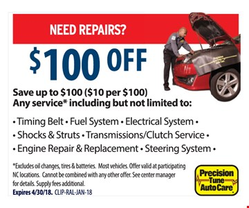 $100 off of any service
