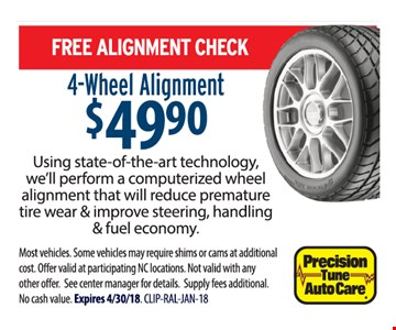 Free alignment check when you get a 4-wheel alignment for $49.90
