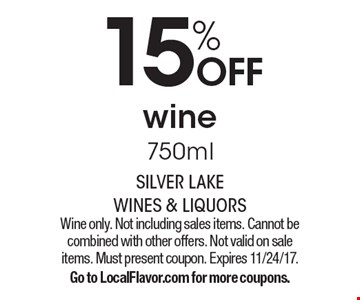15% OFF wine 750ml. Wine only. Not including sales items. Cannot be combined with other offers. Not valid on sale items. Must present coupon. Expires 11/24/17.Go to LocalFlavor.com for more coupons.