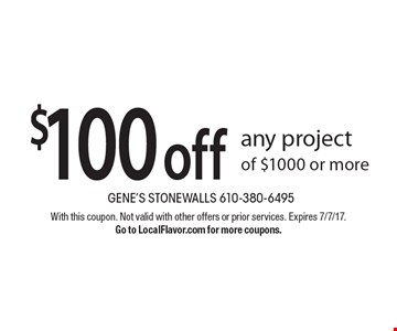 $100 off any project of $1000 or more. With this coupon. Not valid with other offers or prior services. Expires 7/7/17. Go to LocalFlavor.com for more coupons.