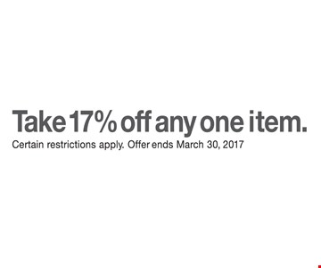 Take 17% Off Any One Item