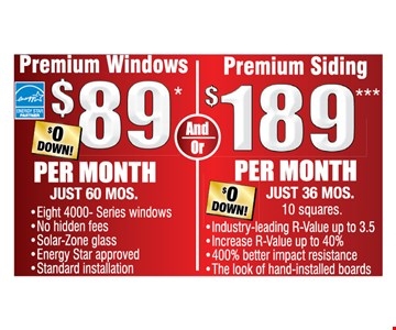 Premium windows and siding as low as $89 per month