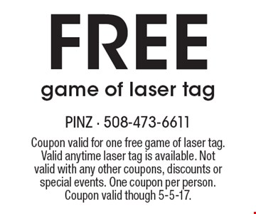 Free game of laser tag. Coupon valid for one free game of laser tag. Valid anytime laser tag is available. Not valid with any other coupons, discounts or special events. One coupon per person. Coupon valid though 5-5-17.