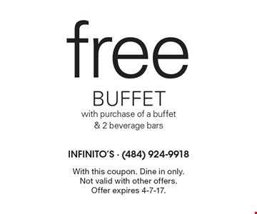 free buffet with purchase of a buffet & 2 beverage bars. With this coupon. Dine in only. Not valid with other offers. Offer expires 4-7-17.