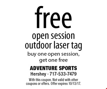 Free open session outdoor laser tag. Buy one open session, get one free. With this coupon. Not valid with other coupons or offers. Offer expires 10/13/17.