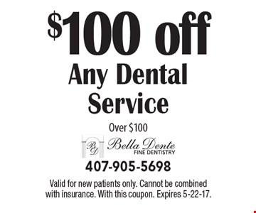 $100 off Any Dental Service Over $100. Valid for new patients only. Cannot be combined with insurance. With this coupon. Expires 5-22-17.