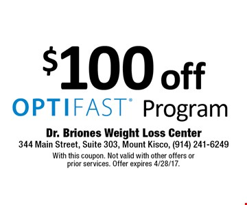 $100 off Program. With this coupon. Not valid with other offers or prior services. Offer expires 4/28/17.