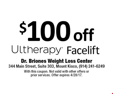 $100 off Facelift. With this coupon. Not valid with other offers or prior services. Offer expires 4/28/17.