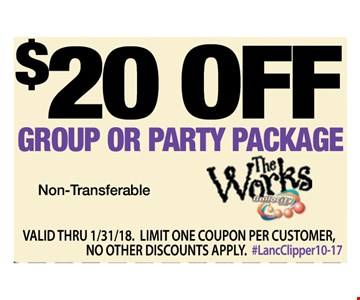 $20 off group party or package. non-transferable. valid thru 1/31/18. limit one coupon per customer, no other discounts apply. #LancClipper10-17