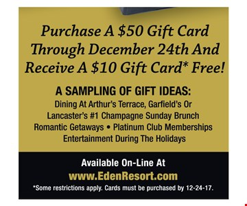 Purchase a $50 gift card and receive a $10 gift card free!
