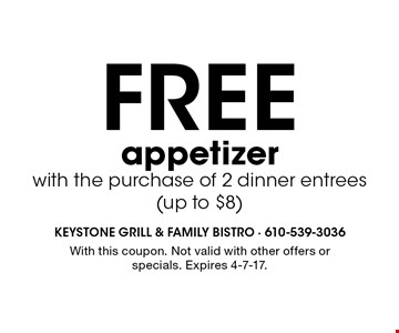Free appetizer with the purchase of 2 dinner entrees (up to $8). With this coupon. Not valid with other offers or specials. Expires 4-7-17.