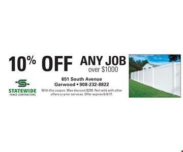 10% Off Any Job over $1000. With this coupon. Max discount $200. Not valid with other offers or prior services. Offer expires 6/9/17.