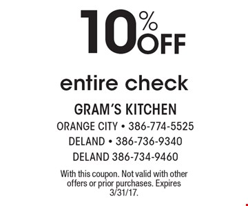 10% off entire check. With this coupon. Not valid with other offers or prior purchases. Expires 3/31/17.
