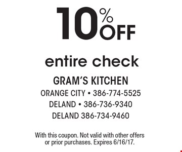 10% Off entire check. With this coupon. Not valid with other offers or prior purchases. Expires 6/16/17.