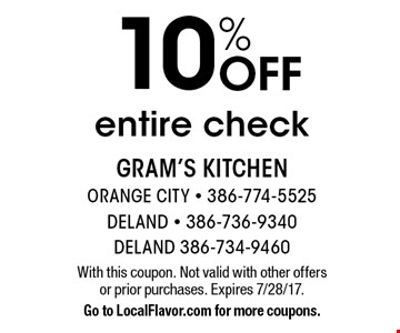 10% Off entire check. With this coupon. Not valid with other offers or prior purchases. Expires 7/28/17.Go to LocalFlavor.com for more coupons.
