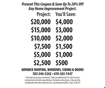 Present This Coupon & Save Up To 20% Off Any Home Improvement Project.  Project $20,000 You'll Save $4000 or Project $15,000 You'll Save $3000 or Project $10,000 You'll Save $2000 or Project $7,500 You'll Save $1500 or Project $5,000 You'll Save $1000 or Project $2,500 You'll Save $500. *Excludes insurance estimates. Take an additional 5% off if work is contracted at initial consultation. Excludes entry doors.May not be combined with other Advance Inc. promotional offers. Exp. 4-28-17.