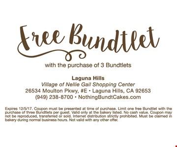 Free Bundtlet with the purchase of 3 bundtlets
