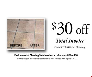 $30 off Total Invoice Ceramic Tile & Grout Cleaning. With this coupon. Not valid with other offers or prior services. Offer expires 4-7-17.