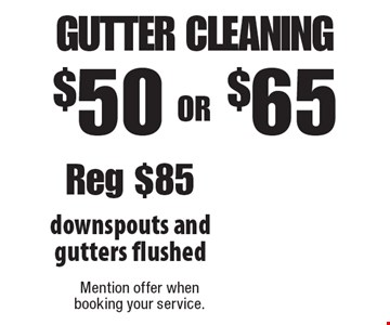 $50 OR $65 gutter cleaning. Downspouts and gutters flushed. Reg $85. Mention offer when booking your service.