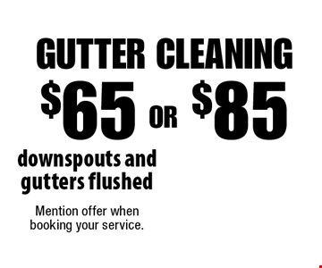 $65 OR $85 Gutter Cleaning, downspouts and gutters flushed. Mention offer when booking your service.