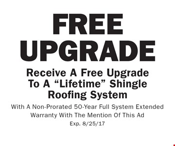 Free Upgrade. Receive A Free Upgrade To A