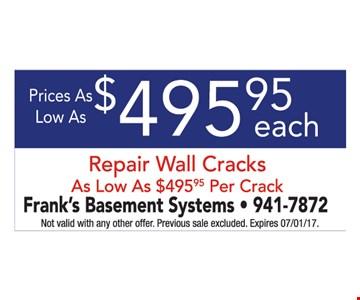 Wall Crack Repair $495.95 Each