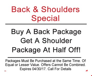 Buy a Back Package Get a Shoulder Package at Half Off