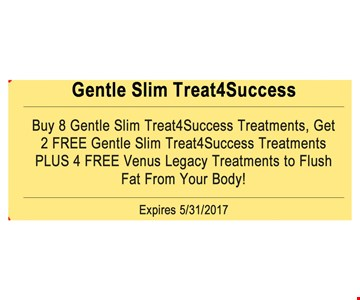 Buy 8 gentle slim treat4success treatments, Get 2 Free Gentle Slim Treat 4Success Treatments Plus 4 Free Venus Legacy Treatments to Flush fat from your Body!