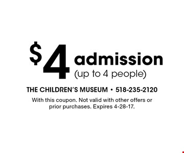 $4 admission (up to 4 people). With this coupon. Not valid with other offers or prior purchases. Expires 4-28-17.