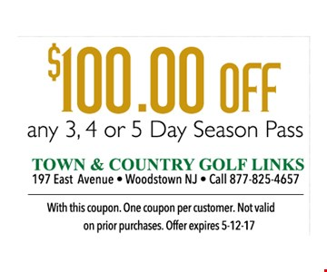 $100 OFF Any 3,4 or 5 day season Pass