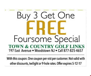 Buy 3 Get one FREE Foursome Special