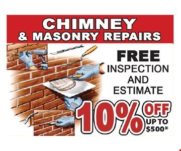 10% off chimney & masonry repairs up to $500