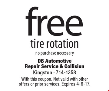 Free tire rotation no purchase necessary. With this coupon. Not valid with other offers or prior services. Expires 4-6-17.