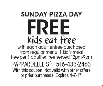 SUNDAY PIZZA DAY. Kids eat free with each adult entree purchased from regular menu, 1 kid's meal free per 1 adult entree served 12pm-9pm. With this coupon. Not valid with other offers or prior purchases. Expires 4-7-17.