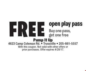 Free open play pass. Buy one pass, get one free. With this coupon. Not valid with other offers or prior purchases. Offer expires 4/28/17.