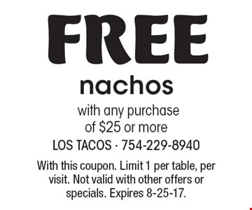 Free nachos with any purchase of $25 or more. With this coupon. Limit 1 per table, per visit. Not valid with other offers or specials. Expires 8-25-17.