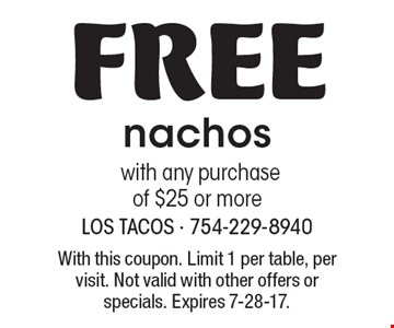 Free nachos with any purchase of $25 or more. With this coupon. Limit 1 per table, per visit. Not valid with other offers or specials. Expires 7-28-17.