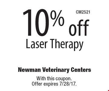 10% off Laser Therapy. With this coupon. Offer expires 7/28/17.