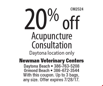 20% off Acupuncture Consultation, Daytona location only. With this coupon. Up to 3 bags, any size. Offer expires 7/28/17.