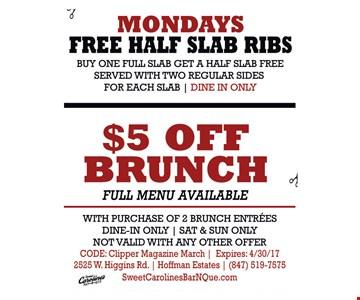 $5 off brunch