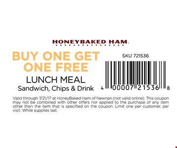 BOGO Free. Lunch meal. Sandwich, chips & drink.